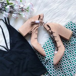 DV Lace-Up Suede Block Heels